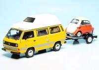 """VW T3a Westfalia Campingbus """"Joker"""" mit PKW-Anhänger und BMW Isetta 250 Export"""