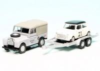 """Land Rover 88 mit PKW-Anhänger und Mini Cooper """"Mike Delaney Racing"""""""