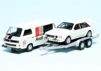 """VW T3a Kastenwagen mit PKW-Anhänger und Audi quattro """"Audi Sport"""""""