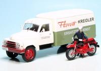"""Hanomag L28 mit Kofferaufbau und Kreidler Florett """"Kreidler Ersatzteildienst"""""""