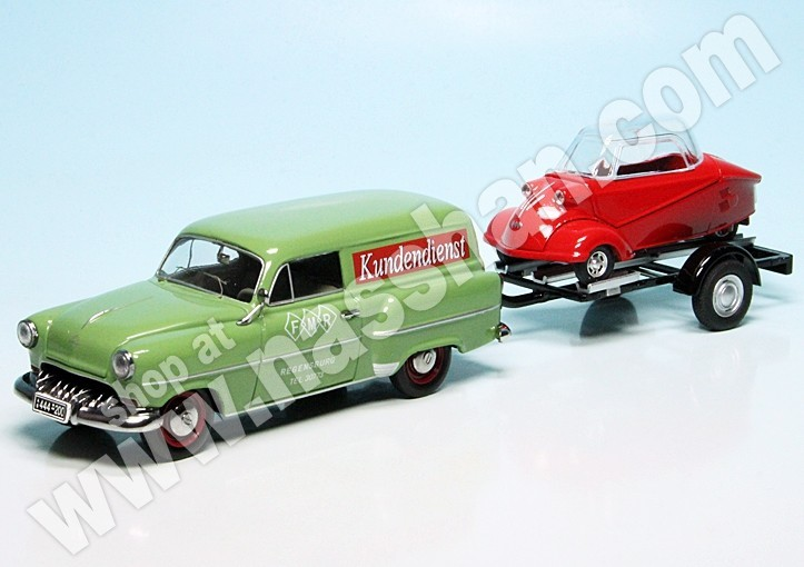 1:43 Schuco Opel Olympia Caravan With Trailer And Messerschmitt Kr Auto- & Verkehrsmodelle Autos, Lkw & Busse