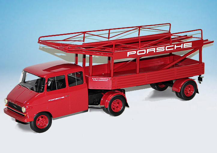 1:18 Schuco Opel Blitz race transporter Porsche