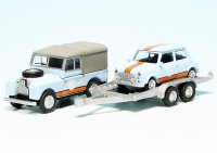 """Land Rover 88 mit PKW-Anhänger und Mini Cooper """"Gulf Racing"""""""