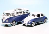 VW Käfer mit Ovali-Fenster und VW T1 Bulli Samba Bus
